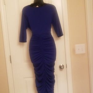 Dresses - Womens Plus Size Deep V Neck  Ruched Waisted Dress